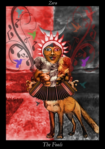 "4/26/17 - 9th New Moon Fool - ""I step quickly and cunningly, through paradox and multiplicity, camaflouged for all to see, as my foxy self."""